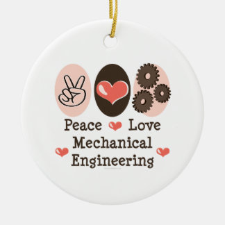 Peace Love Mechanical Engineering Ornament