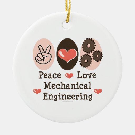 Peace love mechanical engineering ornament zazzle