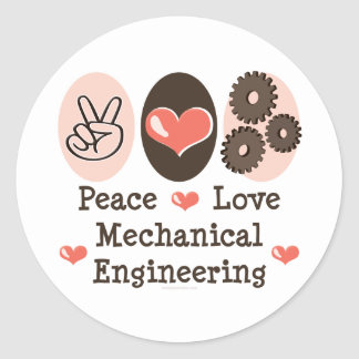 Peace Love Mechanical Engineering Stickers