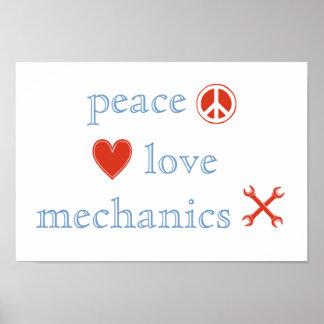 Peace Love Mechanics Poster