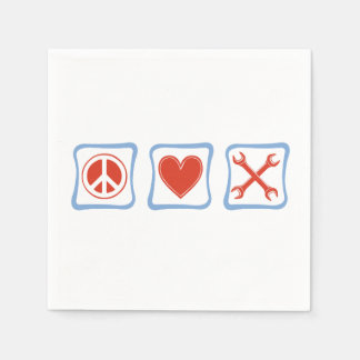 Peace Love Mechanics Squares Paper Napkin