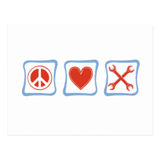 Peace Love Mechanics Squares Postcard