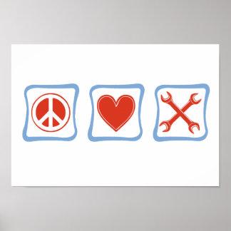 Peace Love Mechanics Squares Poster