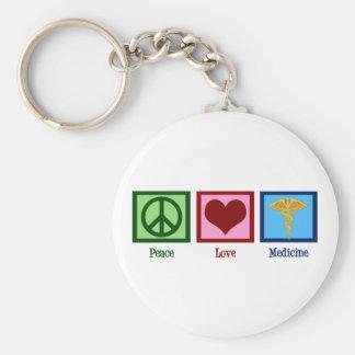 Peace Love Medicine Basic Round Button Keychain