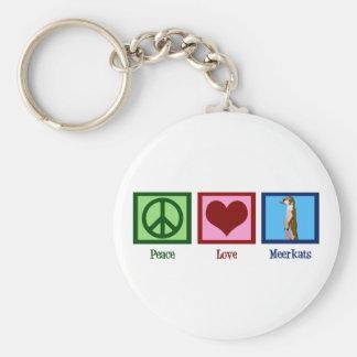 Peace Love Meerkats Basic Round Button Keychain