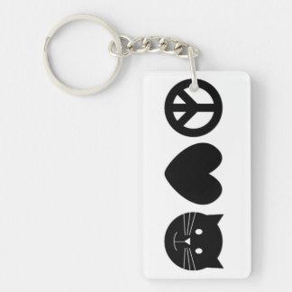 Peace, Love, Meow Rectangular Keychain in Black