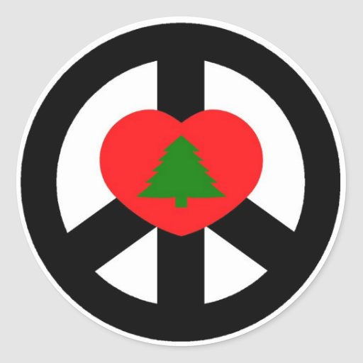 Peace, Love, Merry Christmas Classic Round Sticker