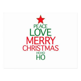 Peace Love Merry Christmas (ho ho ho) Postcard