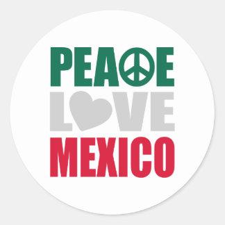 Peace Love Mexico Classic Round Sticker
