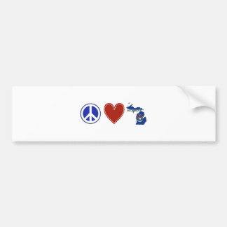 Peace Love Michigan Bumper Sticker