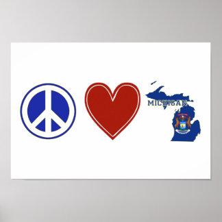 Peace Love Michigan Posters