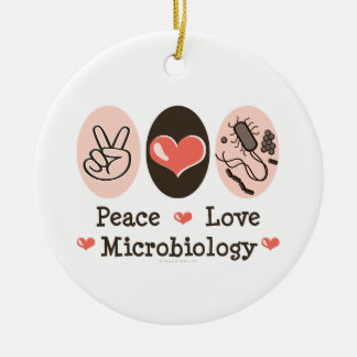 Peace Love Microbiology Ornament