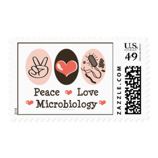 Peace Love Microbiology Postage Stamps