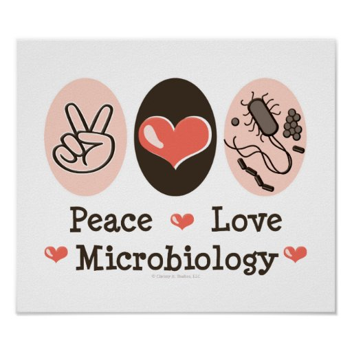 Peace Love Microbiology Poster