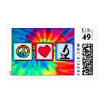Peace, Love, Microscopes Postage Stamp
