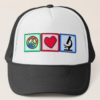 Peace, Love, Microscopes Trucker Hat