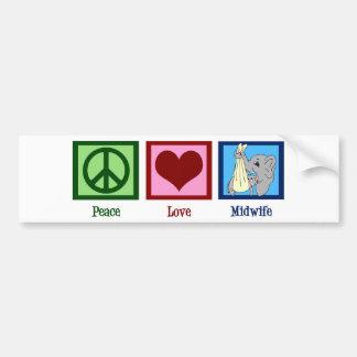 Peace Love Midwife Bumper Sticker