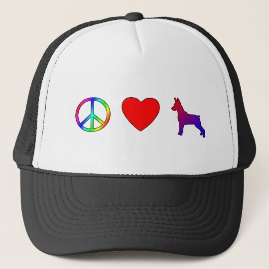 Peace Love Miniature Pinschers Trucker Hat