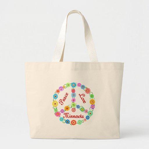 Peace Love Minnesota Jumbo Tote Bag