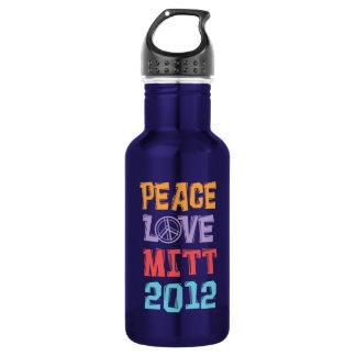 PEACE LOVE MITT 2012 - Mitt Romney - Political 18oz Water Bottle
