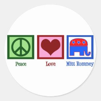Peace Love Mitt Romney Classic Round Sticker
