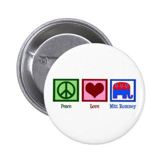 Peace Love Mitt Romney Pinback Button