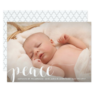 Peace, Love Modern Classic Christmas Holiday Photo Card