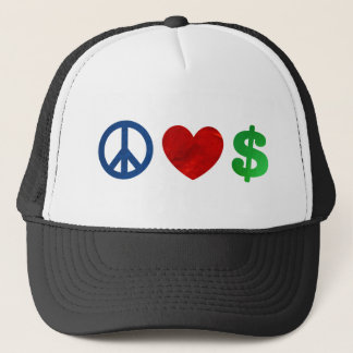 Peace love money trucker hat