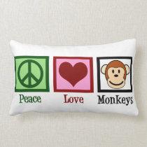 Peace Love Monkeys Lumbar Pillow