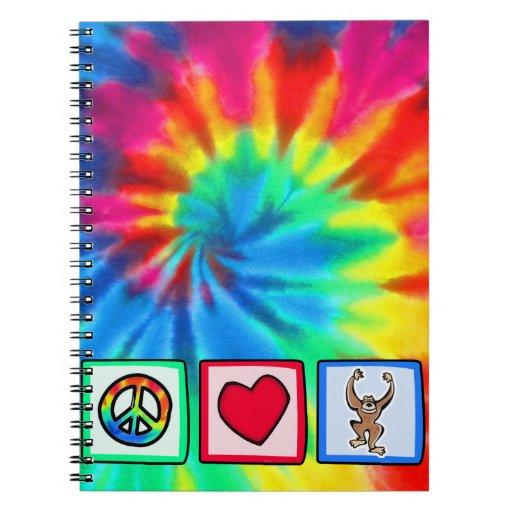 Peace, Love, Monkeys Spiral Note Books