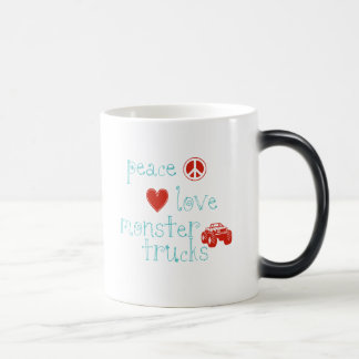 Peace Love Monster Trucks Coffee Mugs