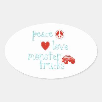 Peace Love Monster Trucks Oval Sticker