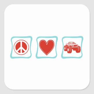 Peace Love Monster Trucks Squares Square Sticker