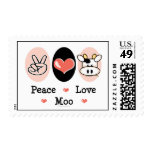 Peace Love Moo Cow Postage Stamps