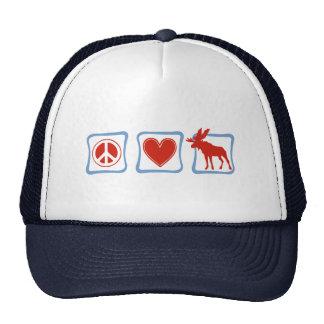 Peace Love Moose squares Trucker Hat