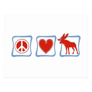 Peace Love Moose squares Post Card