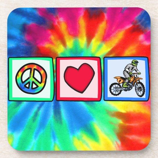 Peace, Love, Motocross Drink Coaster