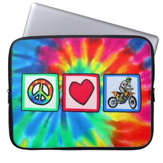 Peace, Love, Motocross Laptop Computer Sleeve