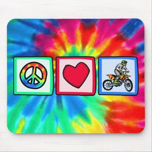 Peace, Love, Motocross Mouse Pad
