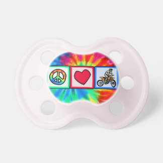 Peace, Love, Motocross Baby Pacifiers