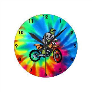 Peace, Love, Motocross Round Clock