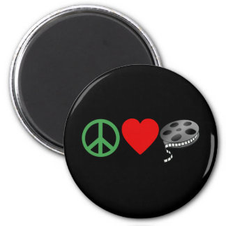 Peace Love Movies 2 Inch Round Magnet