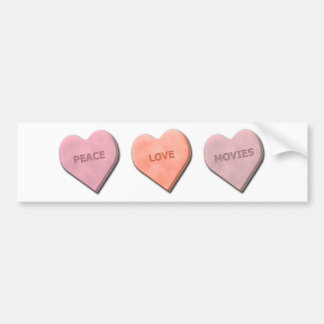 Peace, Love, Movies and Music Car Bumper Sticker