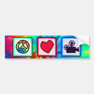 Peace, Love, Movies Car Bumper Sticker
