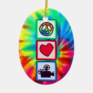 Peace, Love, Movies Ceramic Ornament