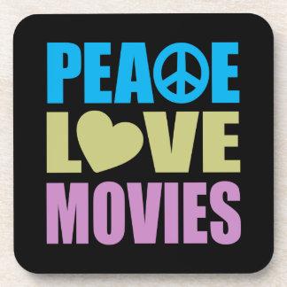 Peace Love Movies Drink Coaster