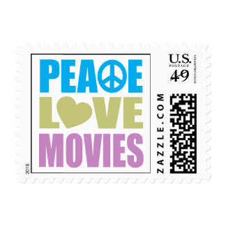 Peace Love Movies Postage Stamp