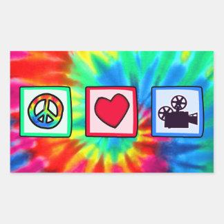 Peace, Love, Movies Rectangular Sticker