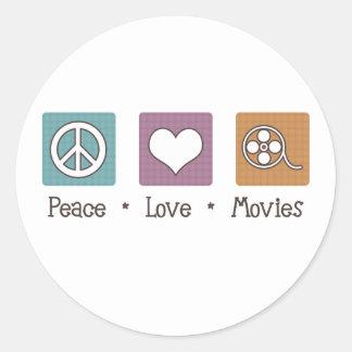 Peace Love Movies Round Sticker
