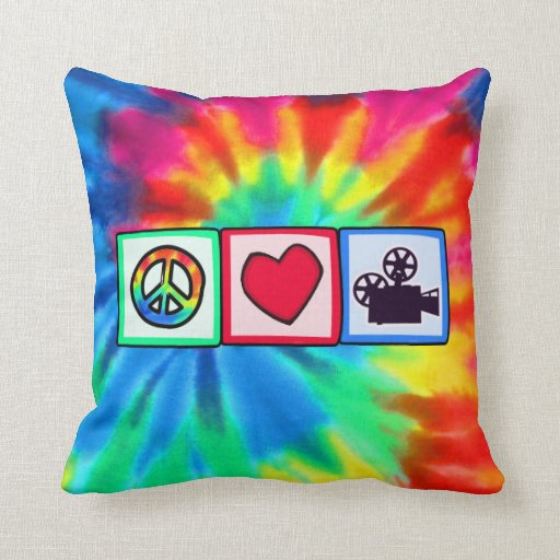 Peace, Love, Movies Throw Pillow